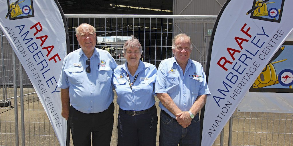 RAAF Amberley Aviation Heritage Centre employees from left, Martin, Adrya and Dave.