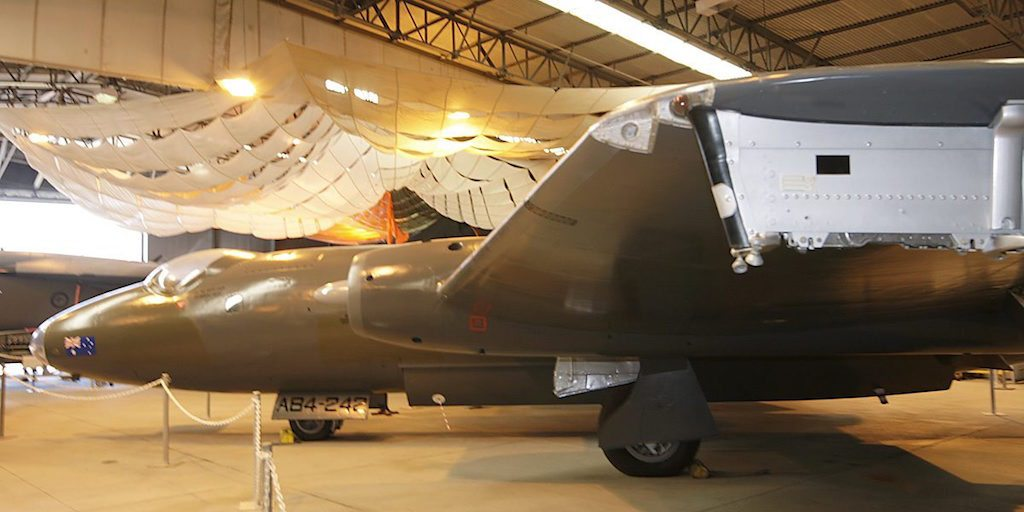 Completed paintwork on Canberra Bomber A84-242 located at the Amberley Heritage Centre.